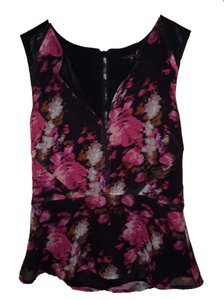 Sanctuary Peplum Leather Details Floral Top Pink/Black