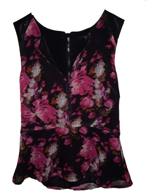 Sanctuary Clothing Peplum Leather Details Floral Top Pink/Black
