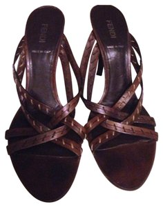 Fendi Leather Brand Name Contrast Heel Heels brown Sandals