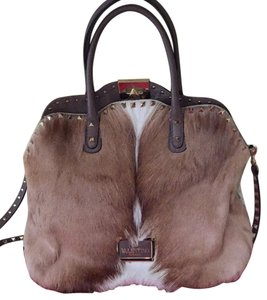 Valentino Satchel in Tan/ Cream Fur