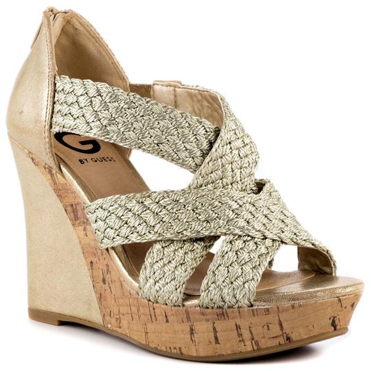 Guess Cork Casual Straps Gold Platforms