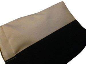 Sephora Sephora Two Toned (Black & Ivory) Cosmetic Bag w Gold Zipper Closure & Sephora Logo Tag on Side