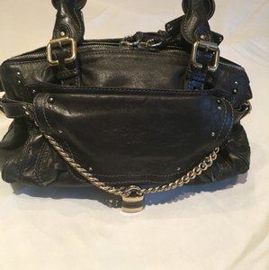Chloé Leather Studded Chain Silver Hardware Paddington Satchel in Black