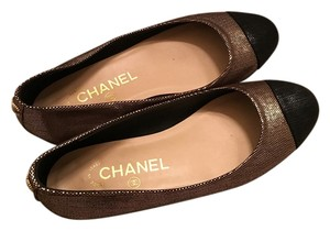 Chanel Metallic Gold and Black Flats