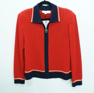 St. John John Collection Cardigan With Navy Gold Trim Sweater