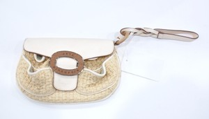 Anya Hindmarch Leather And Basket Weave Wristlet Beige Clutch