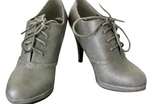 Modcloth Oxford Stilletto Lace Up Gray Boots