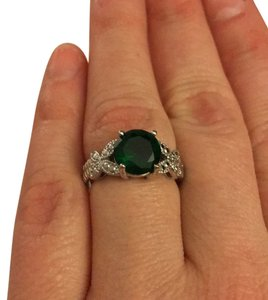 Costume Emerald and Diamond Ring in plated silver