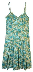 Ann Taylor short dress Blue and Green Floral Cotton Summer on Tradesy