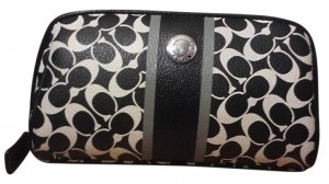 Coach Chelsea Signature Medium Cosmetic Wristlet in Black & White