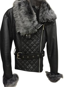 Robert Barth Leather Fur Belted Fitted Leather Jacket