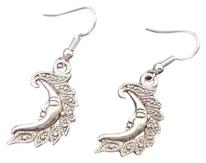 New Moon Earrings Tibetan Silver Crescent Drop Boho Hippy Hook No Stone Ladies Girls