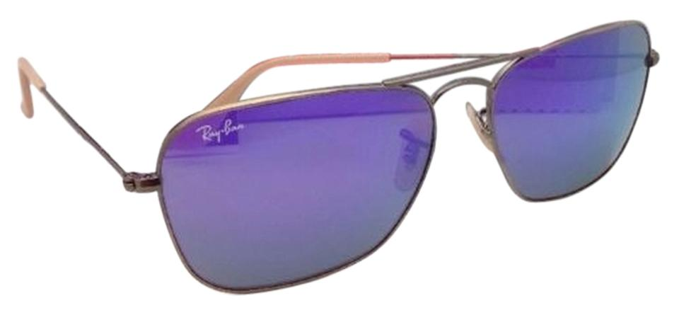 90a08f50fd Ray-Ban Caravan Rb 3136 167 1m Bronze Aviator W  Purple Mirror New ...
