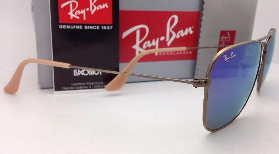 899564a1f45 Ray-Ban Caravan Rb 3136 167 1m Bronze Aviator W  Purple Mirror New