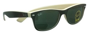 Ray-Ban New Ray-Ban Sunglasses RB 2132 875 52-18 NEW WAYFARER Black & Beige Frame w/ Green Lenses