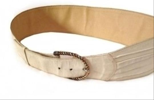 Gucci Authentic Gucci Beige Softest Nubuck Leather Wide Belt- twisted Brass & Copper Buckle