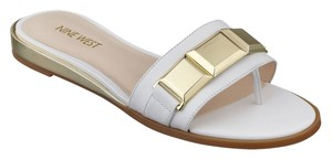 Nine West Xtina Leather Open Toe Sandal White Sandals