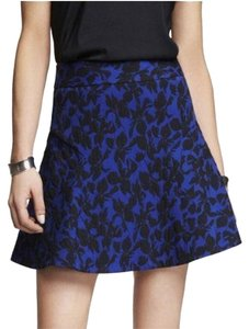 Express Flare Flippy Skirt Cobalt Blue & Black Floral