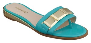 Nine West Xtina Leather Open Toe Teal Turquoise Sandals