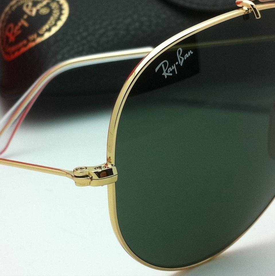Ray-Ban Rb 3138 Shooter 001 Arista Gold Frame W/ Crystal Green ...