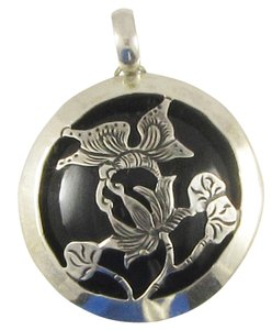 Island Silversmith Island Silversmith Black Onyx 925 Silver Victorian Butterfly Pendant 0301T *FREE SHIPPING*
