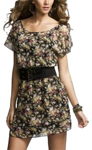 Express short dress Floral Chiffon Split-sleeve Smocked Waist on Tradesy