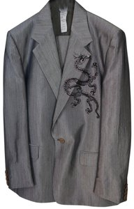 Versace GIANNI VERSACE Rare!! COUTURE MEN'S PEWTER SUIT Jacket Blazer Pant 50