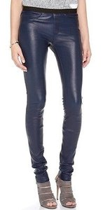 Helmut Lang Stretch Plonge Leather Leggings Jeans Midnight 0 Pants