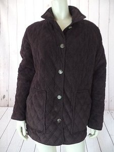 Ralph Lauren Coat Quilted Faux Suede Poly Face Filling Equestrian Brown Jacket