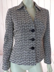 Talbots Talbots Petites Blazer Jacket Black White Beige Textured Stretch Blend Chic