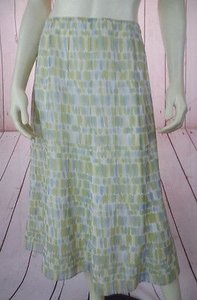 Talbots Silk Sheer Overlay Lining Hot Skirt Greens, Beige, Blue Washes