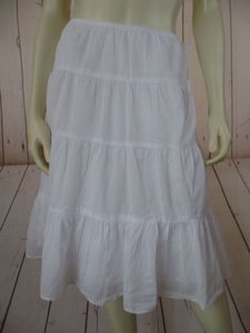 Talbots Peasant Tiered Gathers Lined Peasant Boho Hot Skirt White