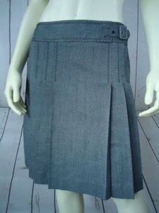 Ann Taylor LOFT Petites 4p Poly Rayon Wool Pleat Front Chic Mini Skirt Gray Heather