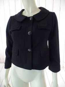 Ann Taylor LOFT Ann Taylor Loft Blazer Black Poly Rayon Spandex Stretch Knit Shorty Crop Retro