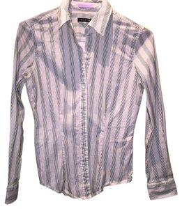 The Limited Button Down Shirt Striped: White, Black, Pink, Gold