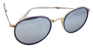 Ray-Ban New RAY-BAN Folding Sunglasses RB 3517 001/30 51-22 Gold & Blue Frame w/ Silver Mirror