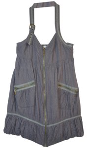 Cecico Zipper Cotton Tunic Steampunk Grey Halter Top