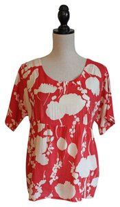 Boden Top Bright Coral and White