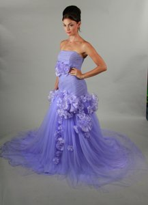 Handmade Sweetheart Purple Organza Elegant Bridal Purple Wedding Dress Wedding Dress