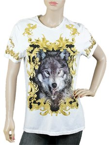 Just Cavalli Cotton Animal Print Print Wolf T Shirt White, Gold, Gray