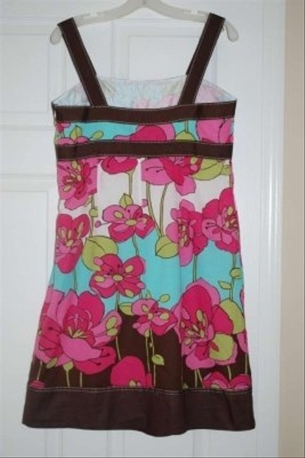 Signature by Robbie Bee short dress Pink, teal, brown/multi on Tradesy