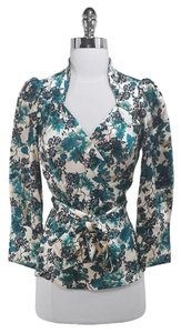 Diane von Furstenberg Silk Top Green/Cream
