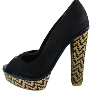 SCHUTZ Platform Boho Leather Suede Black Platforms
