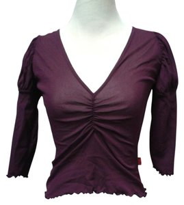 Lili La Tigresse Sheer Polyamide V-neck Top Purple Plum