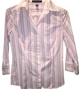 Express Button Down Shirt Striped: Tan, brown, pink, white