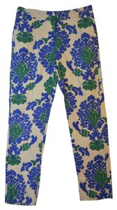 Boden Straight Leg Summer Straight Pants Natural Linen with Royal Blue