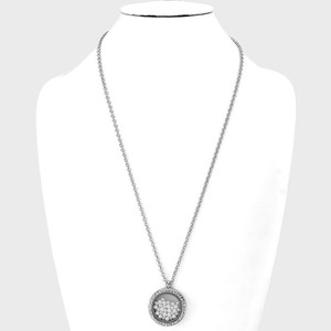 White Silver/Rhodium Floating Pearl Charms Magnetic Closure Locket Necklace
