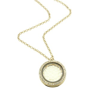 Pearl Filled Rhinestone Accent Floating Memory Locket Necklace