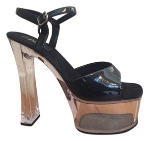 Pleaser Patent Leather Heal Party Black, Clear Platforms