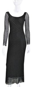 Carmen Marc Valvo Gown Longsleeve Lace Rayon Dress